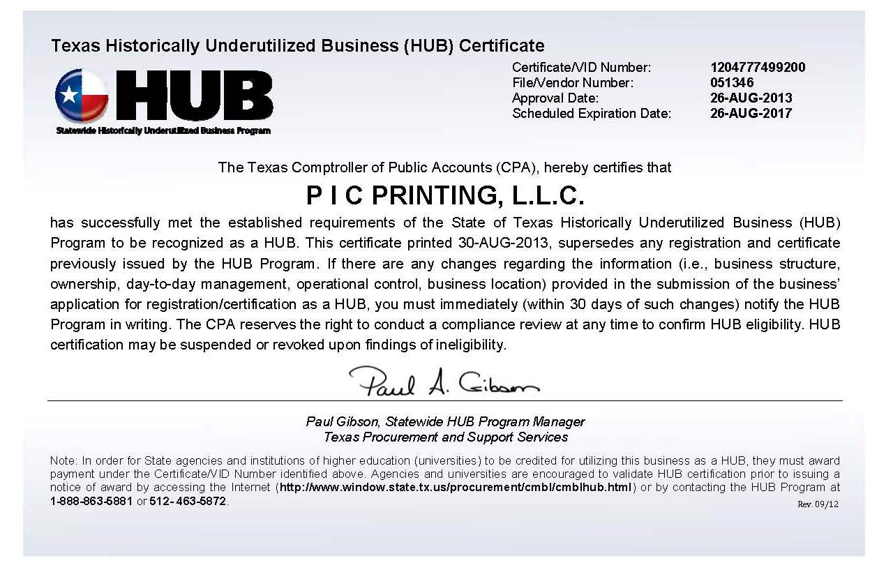 Pic printing historically underutilized business certified by the texas building procurement commission tbpc 1betcityfo Choice Image